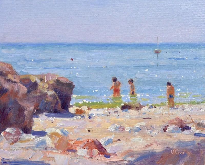 """""""Summer Beach - Portinho da Arrabida"""" original fine art by Lena  Rivo"""