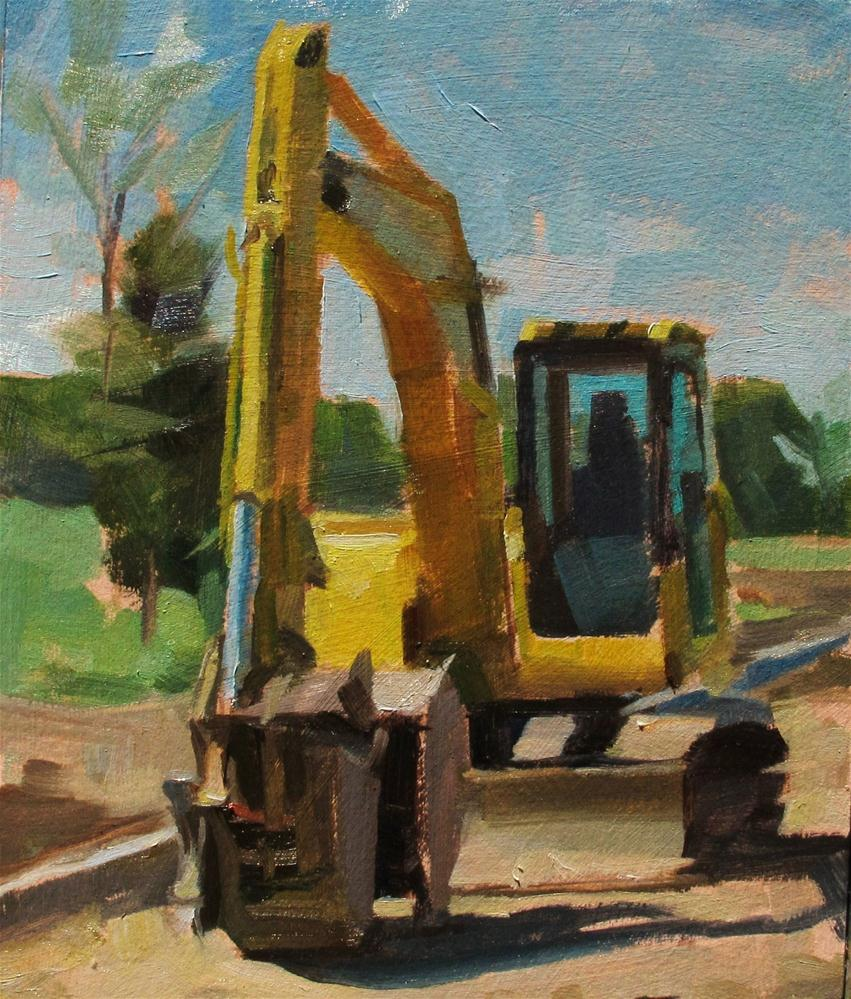 Yellow Shovel Tractor original fine art by Taryn Day