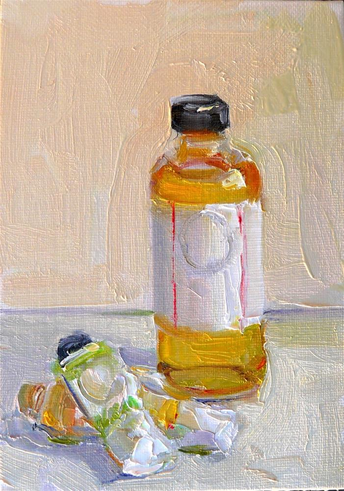 """Tubes and Bottle,still life,oil on canvas,7x5,price$175"" original fine art by Joy Olney"