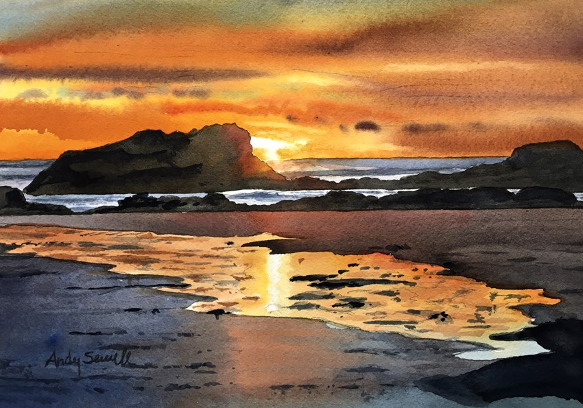 """Oregon Coast Glow"" original fine art by Andy Sewell"
