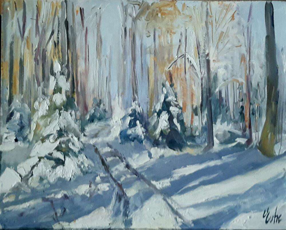 """sun and snow in the forest"" original fine art by Evelyne Heimburger Evhe"