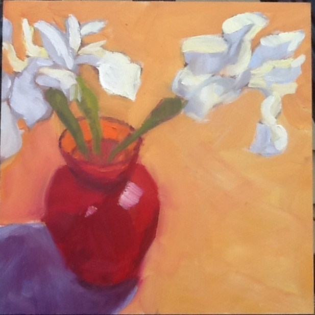 """Siberian Iris and Red Vase"" original fine art by Elizabeth Bish"