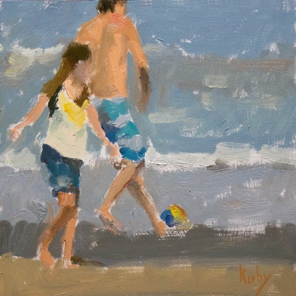 """Beach Play"" original fine art by Randall Cogburn"