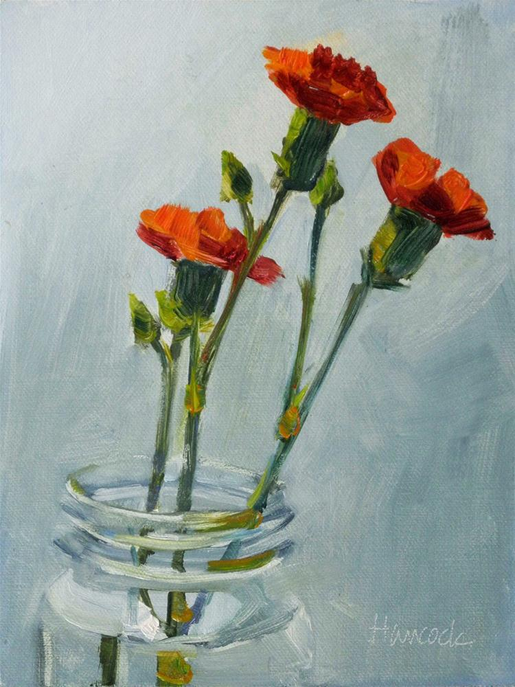 """Three Red Carnations"" original fine art by Gretchen Hancock"