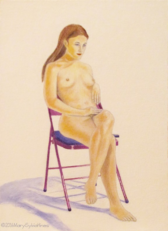"""Nude 4"" original fine art by Mary Sylvia Hines"