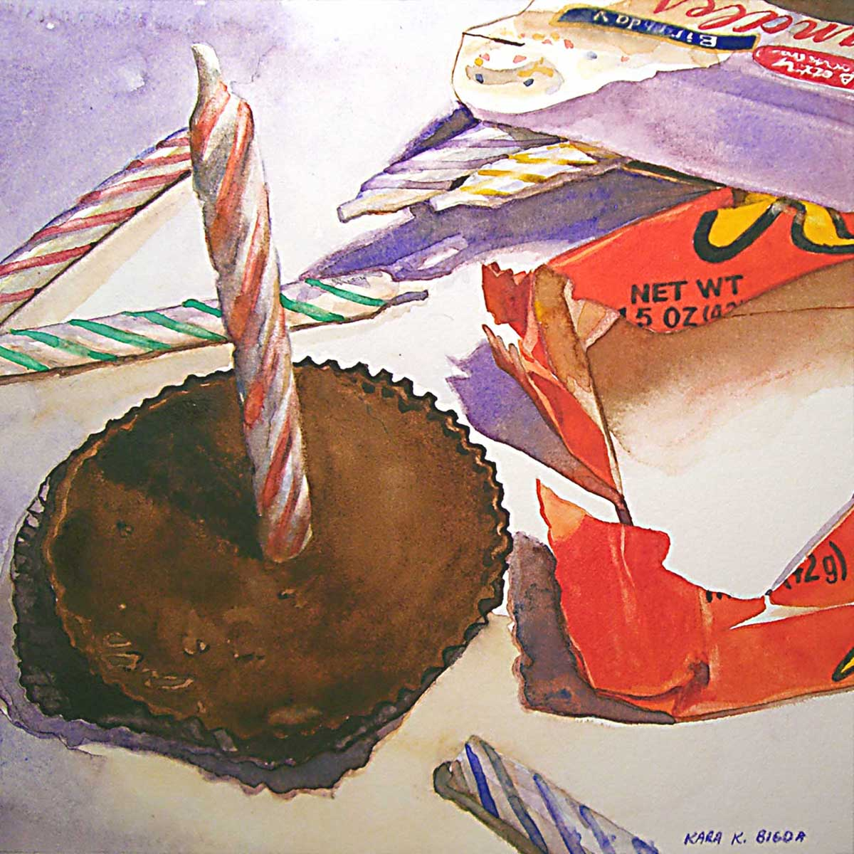 """Birthday Reeses"" original fine art by Kara K. Bigda"
