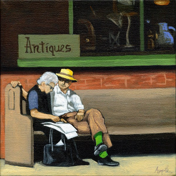"""Green Socks - man & woman on bench"" original fine art by Linda Apple"