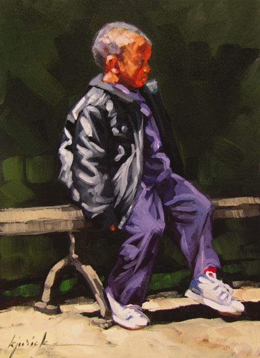 """Bench Warmer"" original fine art by Karin Jurick"