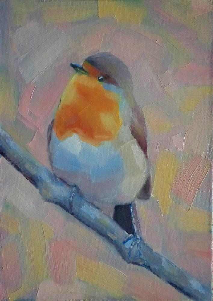 """Robin bird"" original fine art by Maria Z."