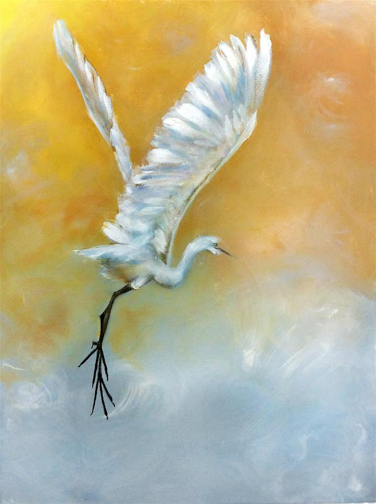 """Great White Egret"" original fine art by Sunny Avocado"