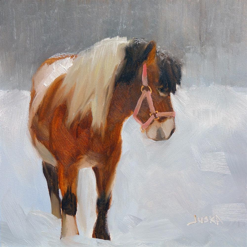 """Paint Pony in the Snow #2"" original fine art by Elaine Juska Joseph"