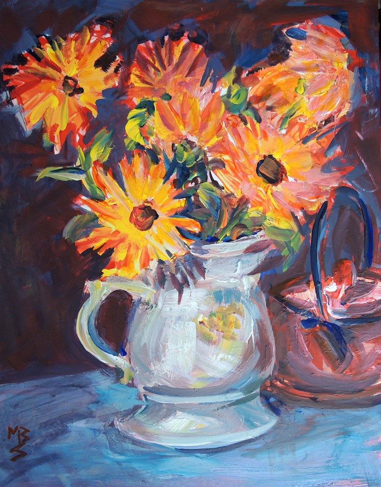 """Calendula 1"" original fine art by Mary Schiros"