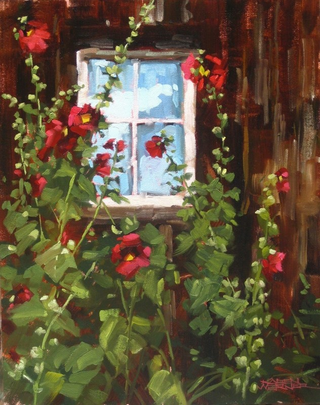 """Hollyhock Window"" original fine art by Karen Werner"
