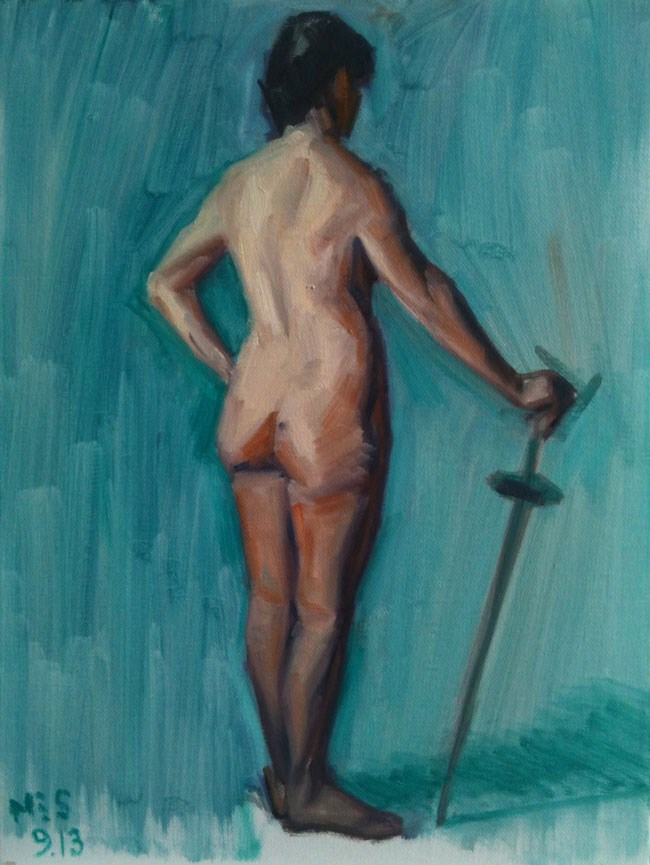 """Nude with Sword"" original fine art by Megan Schembre"
