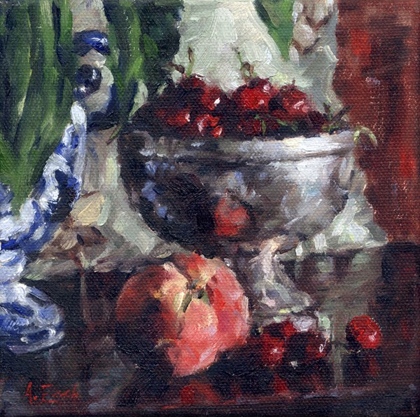 """Bowl of Cherries"" original fine art by Audra Esch"