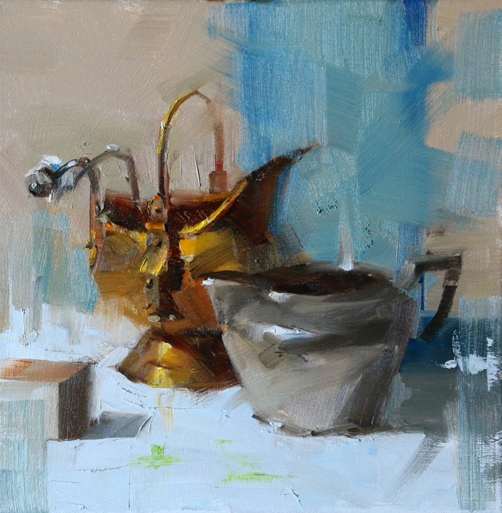 """Pewter and Brass"" original fine art by Qiang Huang"