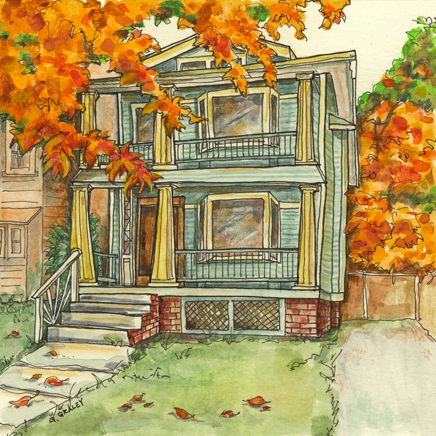 """Franklin House in Autumn"" original fine art by Geri Graley"