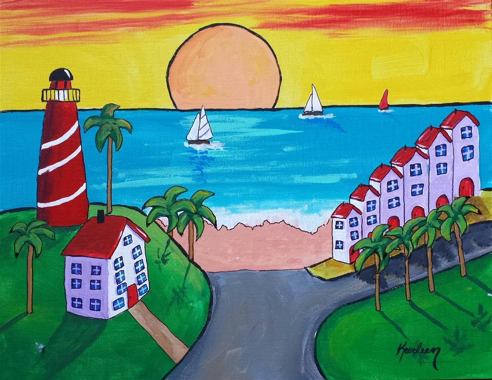 """Lighthouse Inn"" original fine art by Karleen Kareem"