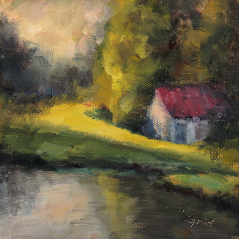 """White Cabin by the Pond"" original fine art by Naomi Gray"