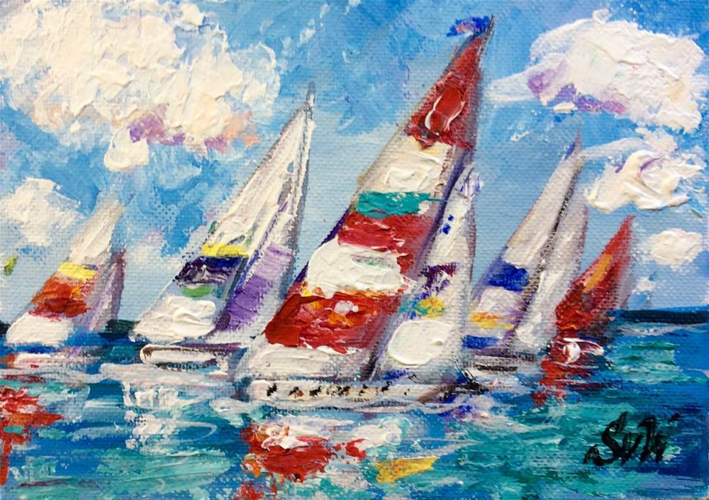 """Colourful regatta"" original fine art by Sonia von Walter"