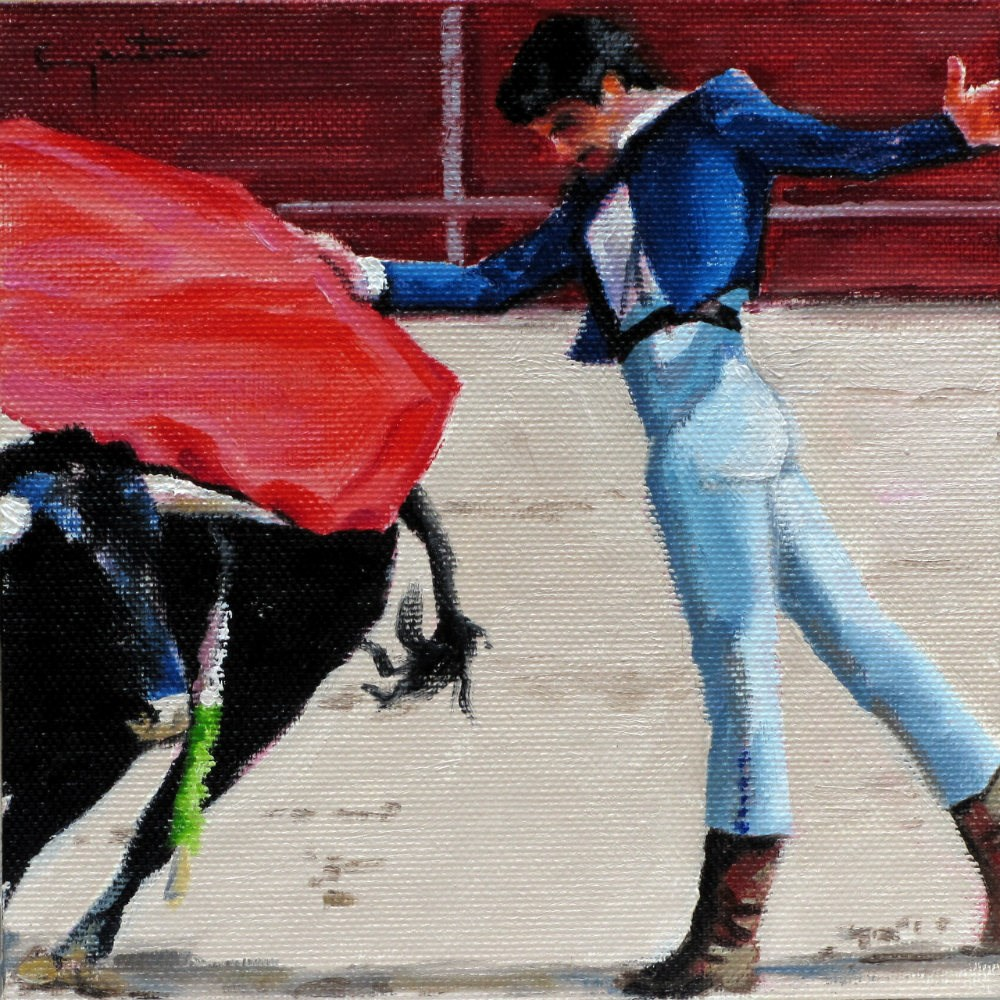 """""""Novillo bravo"""" original fine art by Eduardo Carpintero"""