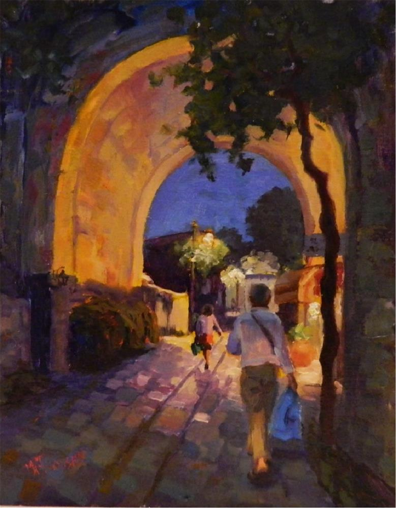 """Amalfi Coast Evening, 14x11, oil on linen, Amalfi, Ravello, Italian riviera, Italy, nocturnes"" original fine art by Maryanne Jacobsen"