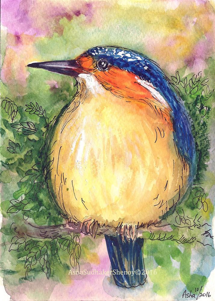 """Malagasy Kingfisher 2"" original fine art by Asha Shenoy S"