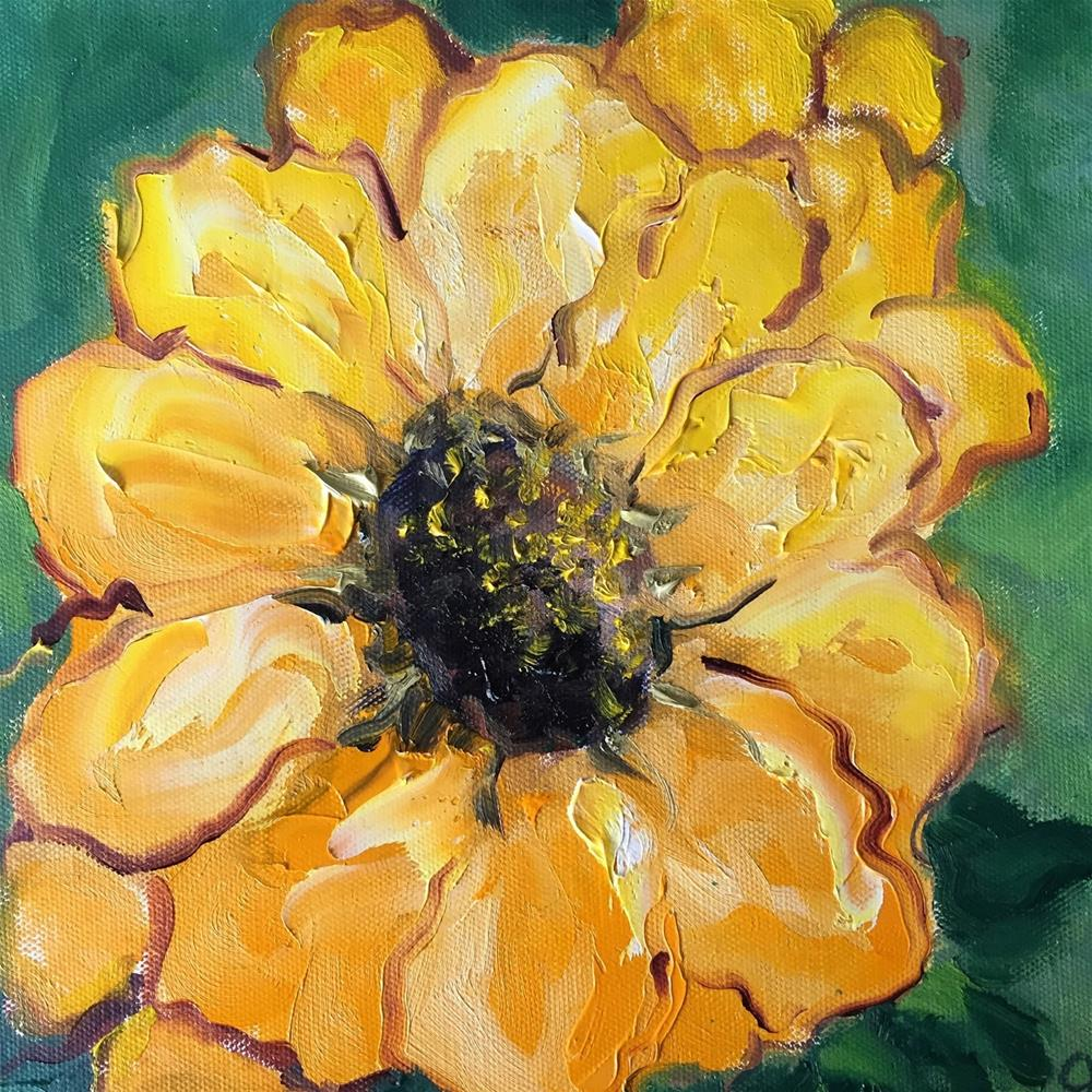 """Yellow Zinnia SOLD"" original fine art by Gayle Lambeth"