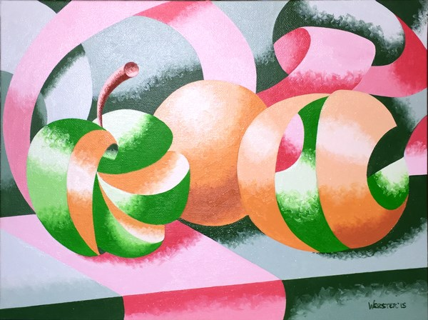 """Mark Adam Webster - Apples and Oranges Abstract Geometric Still Life"" original fine art by Mark Webster"