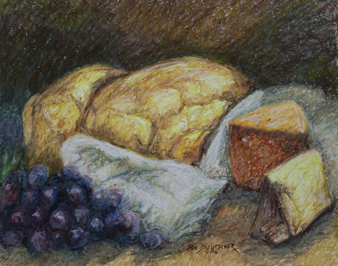"""""""Bread, Grapes and Cheese"""" original fine art by Sue Deutscher"""
