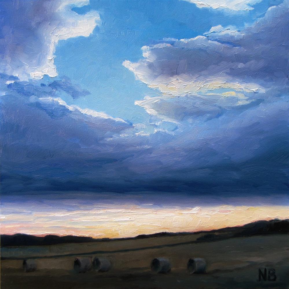 """""""Evening Round Bales"""" original fine art by Nora Bergman"""