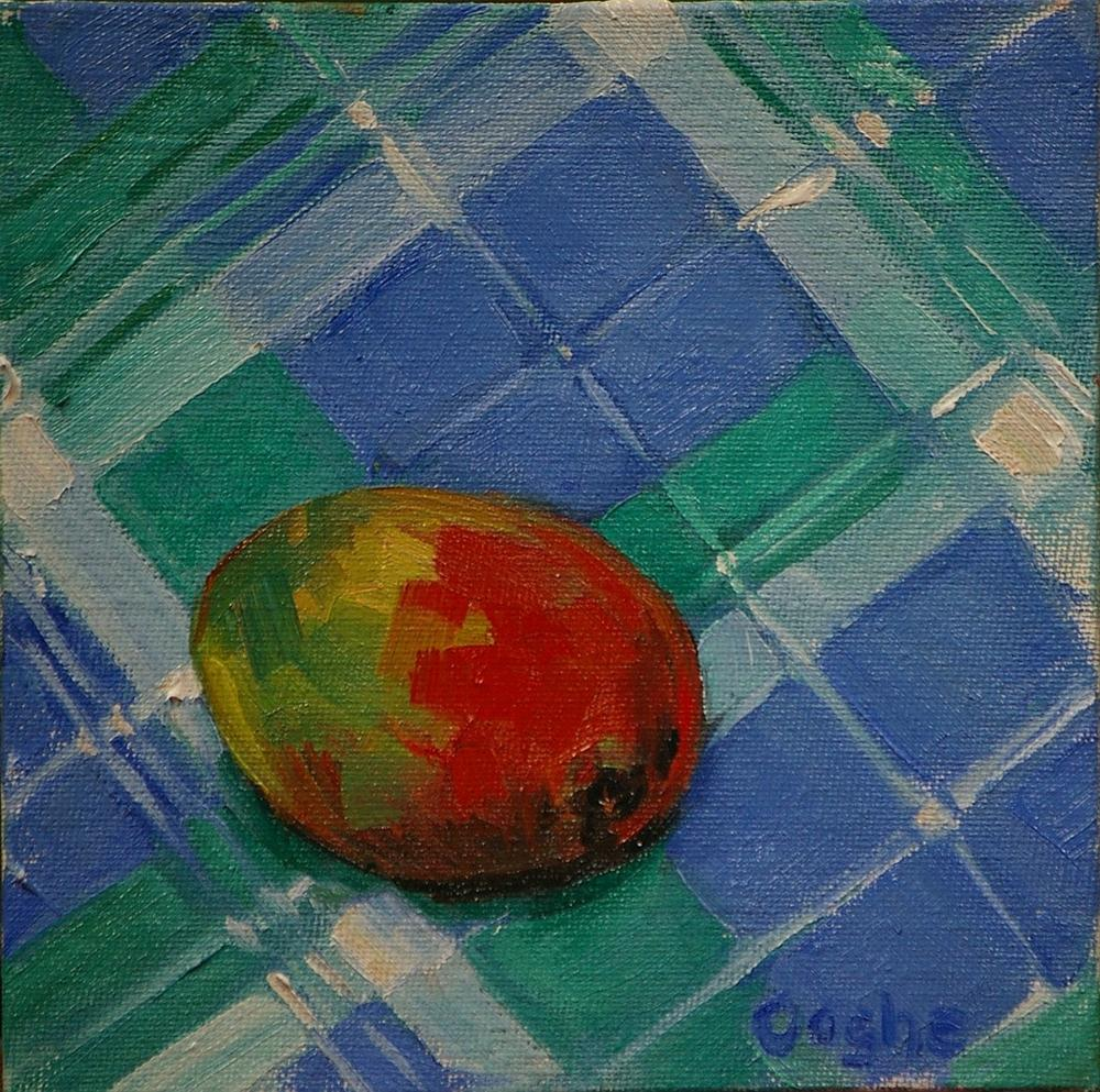 """Mango on Plaid"" original fine art by Angela Ooghe"