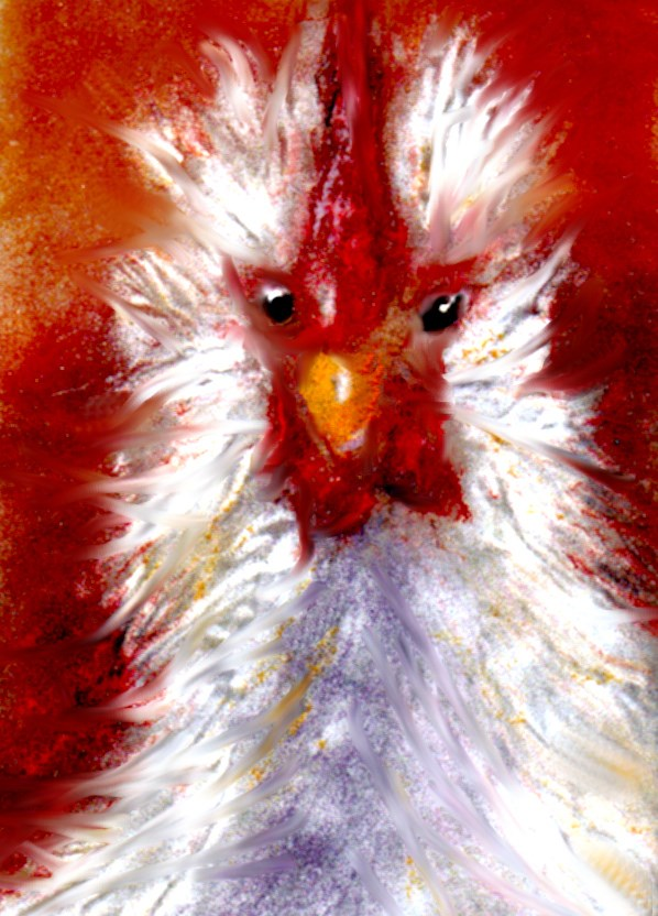 """rooster again"" original fine art by Kristen Dukat"