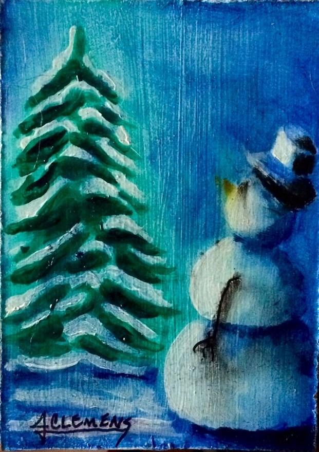 """ACEO Quietness of winter"" original fine art by Jolynn Clemens"