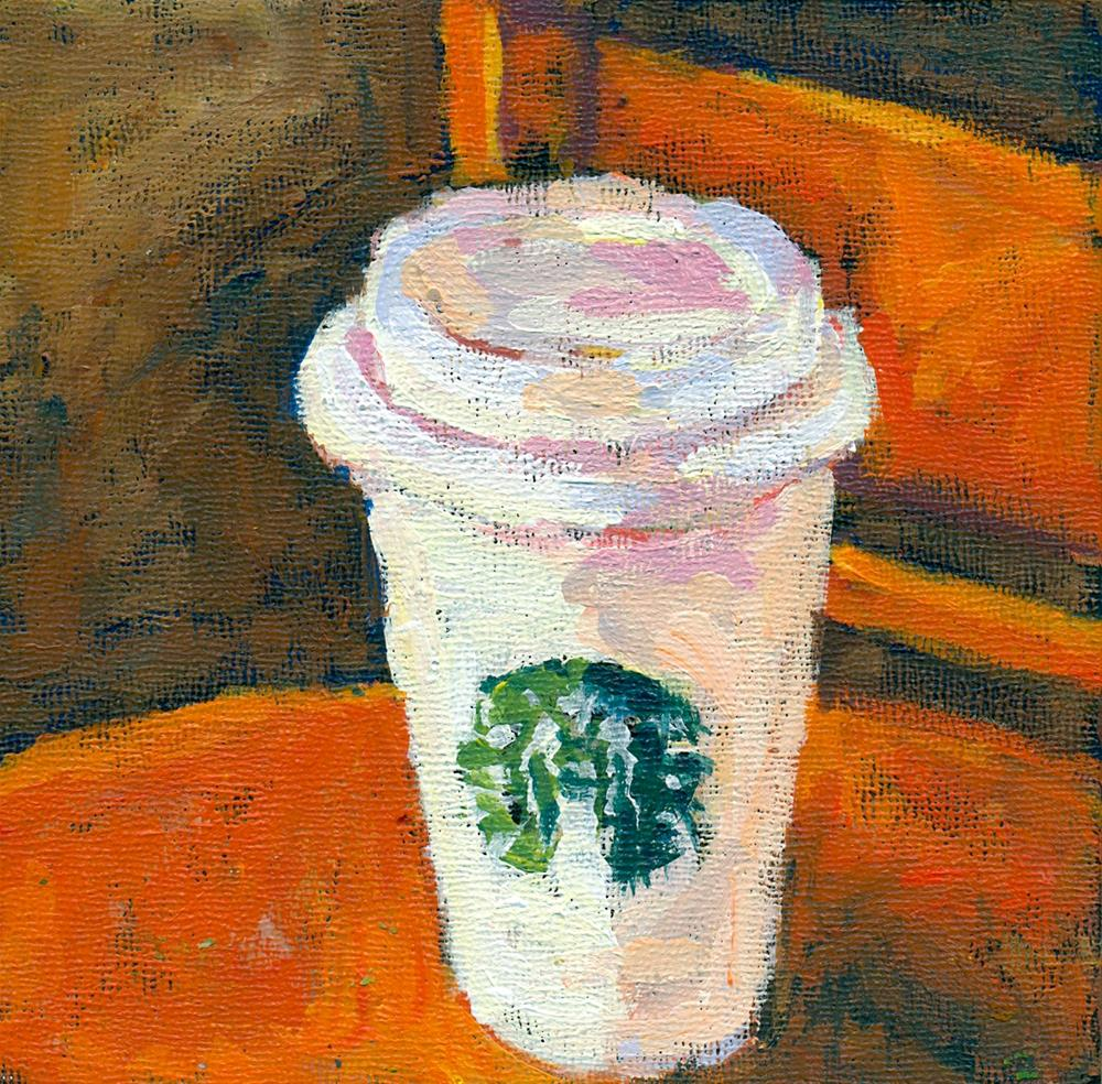 """cinnamon dolce latte of course"" original fine art by Shelley Garries"