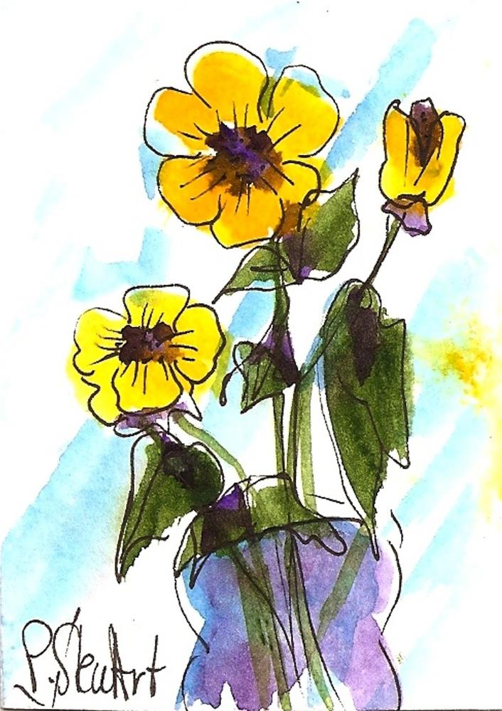 """ACEO 3 Yellow Flowers Watercolor and Pen, Naive Art, Original, not a print"" original fine art by Penny Lee StewArt"