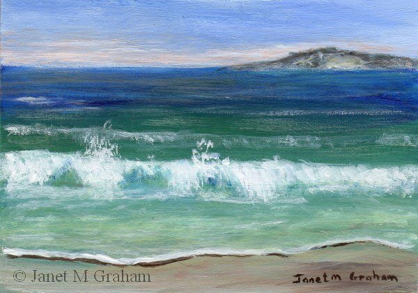 """Seascape 1 ACEO"" original fine art by Janet Graham"