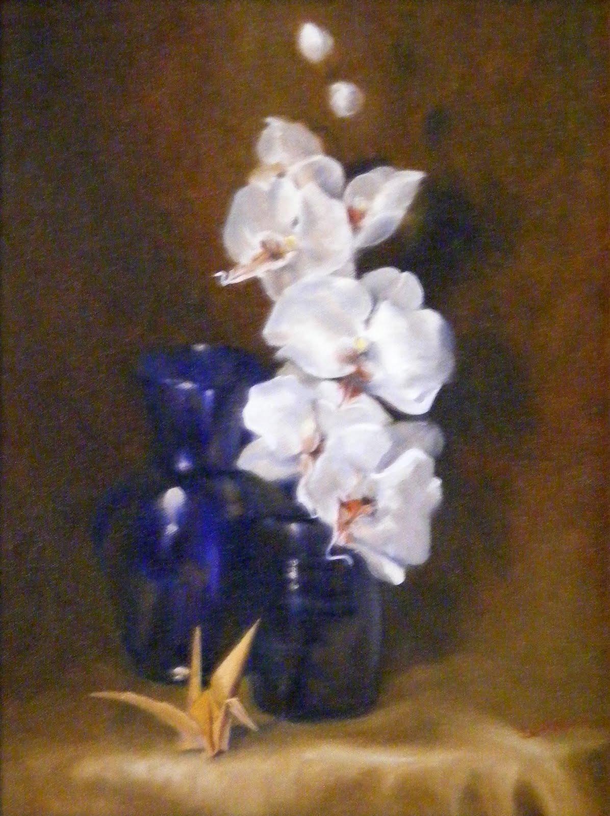 """Origami and Flowers, Still Life"" original fine art by Diana Delander"