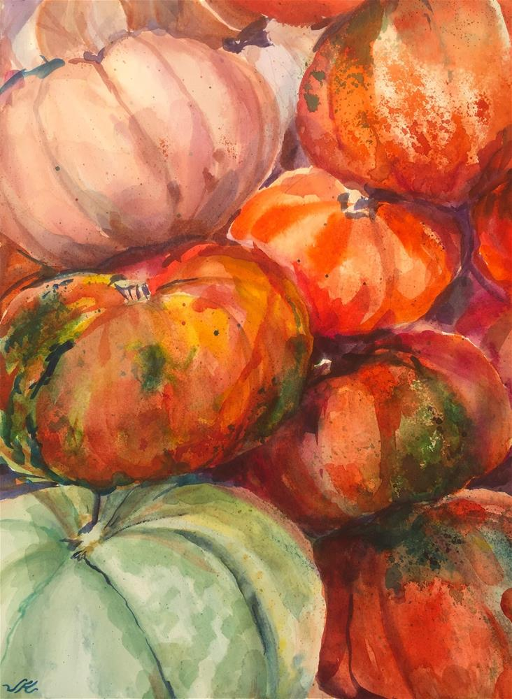 """Gourds and Pumpkins"" original fine art by Jean Krueger"