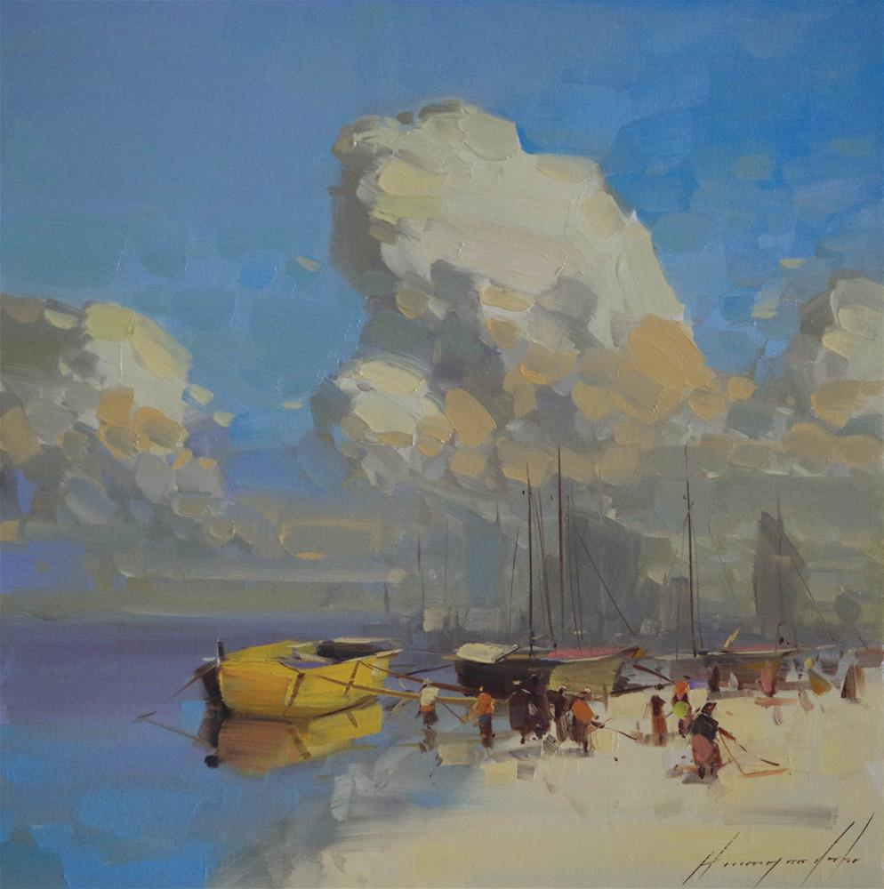 """Boats on the Shore Original oil Painting"" original fine art by V Yeremyan"