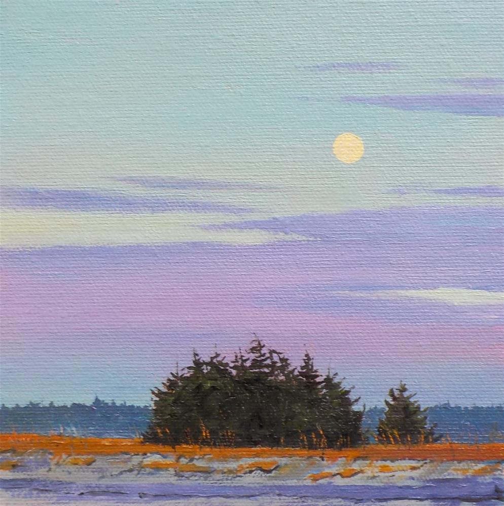 """Moon at the Beach"" original fine art by Carole Baker"