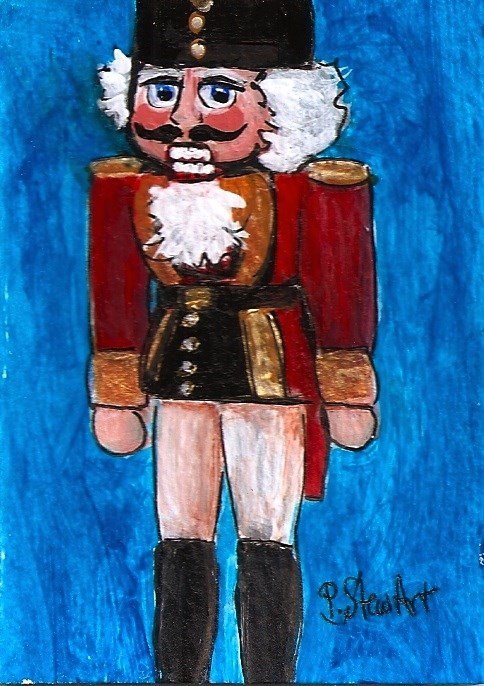 """ACEO Nutcracker Painting Soldier Red Coat Black Hat Boots SFA Penny StewArt"" original fine art by Penny Lee StewArt"
