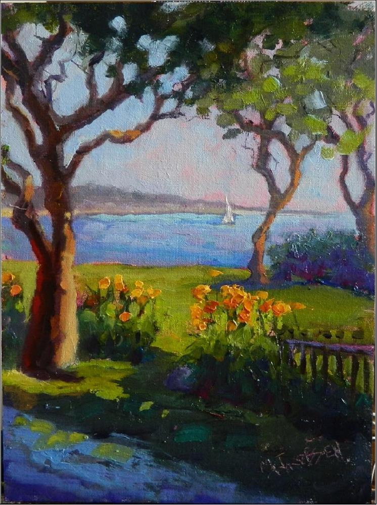 """On a Clear Day you can See Forever, 9x12, oil on panel, trees, water, tiger Lillies, Rockport Mass"" original fine art by Maryanne Jacobsen"