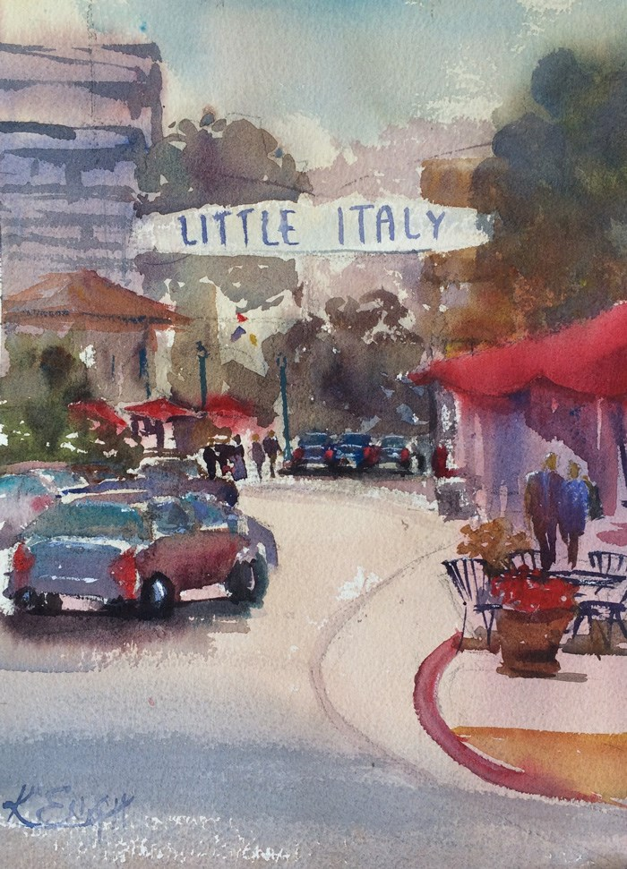 """Litte Italy"" original fine art by Katharine Engh"