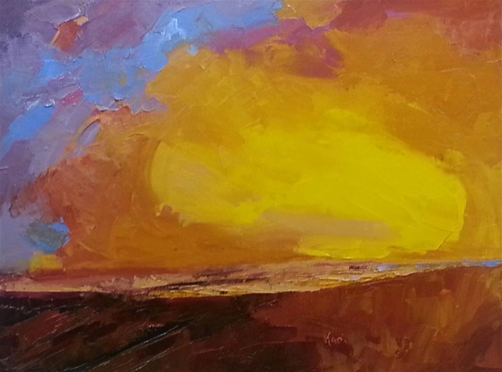 """""""Fire Beach"""" original fine art by Kari Melen"""
