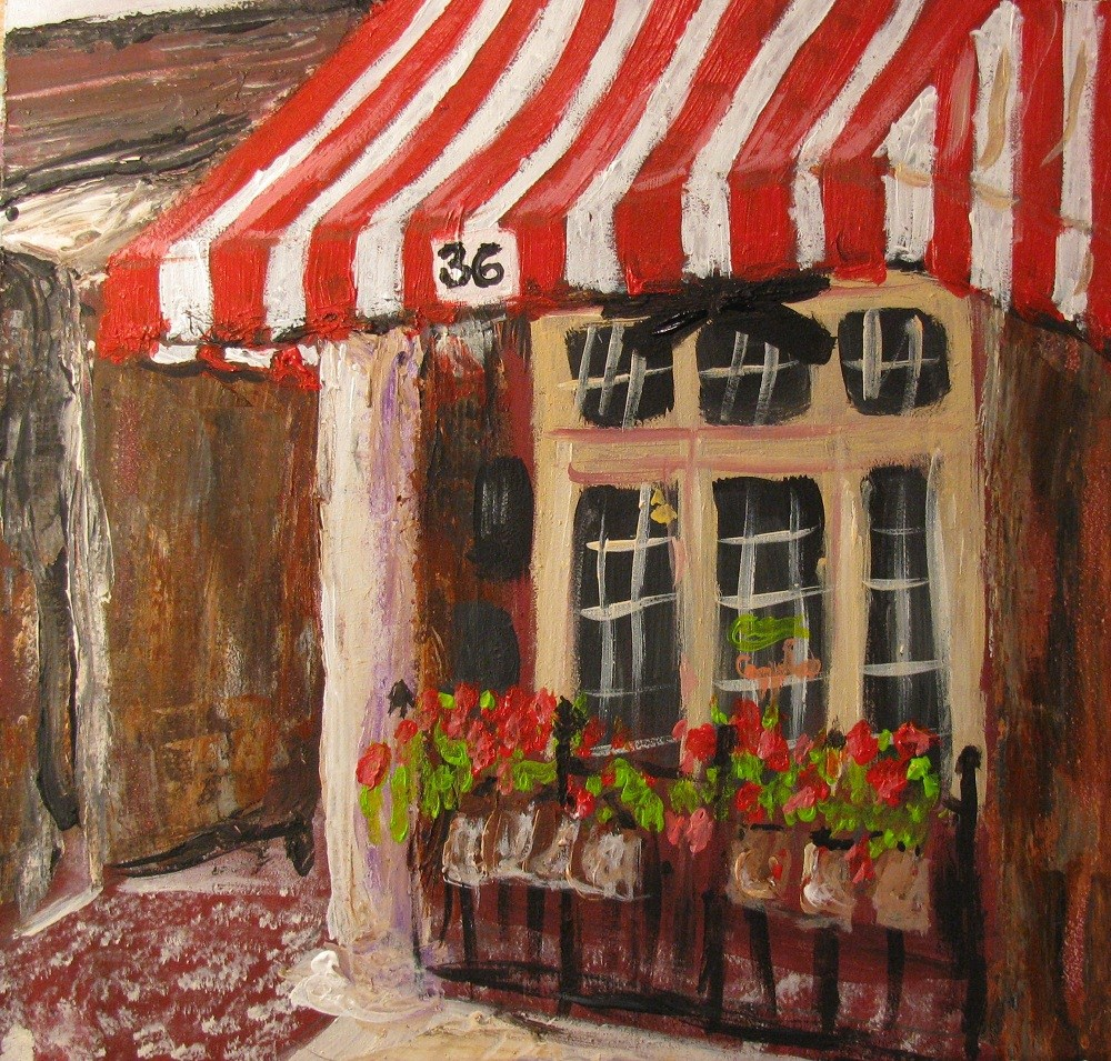 """Home of Annelle's Jack Daniel's Chocolate Pecan Pie"" original fine art by Susan Elizabeth Jones"