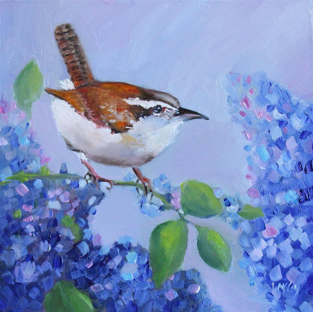 """""""Wren and Lilacs"""" original fine art by Linda McCoy"""