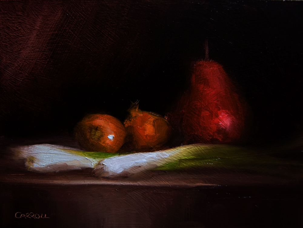"""Onions with Pear"" original fine art by Neil Carroll"