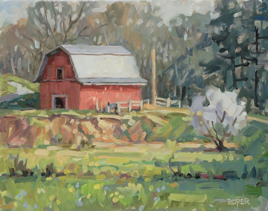 """""""DAY 21: Spring At The Old Red Barn"""" original fine art by Stuart Roper"""
