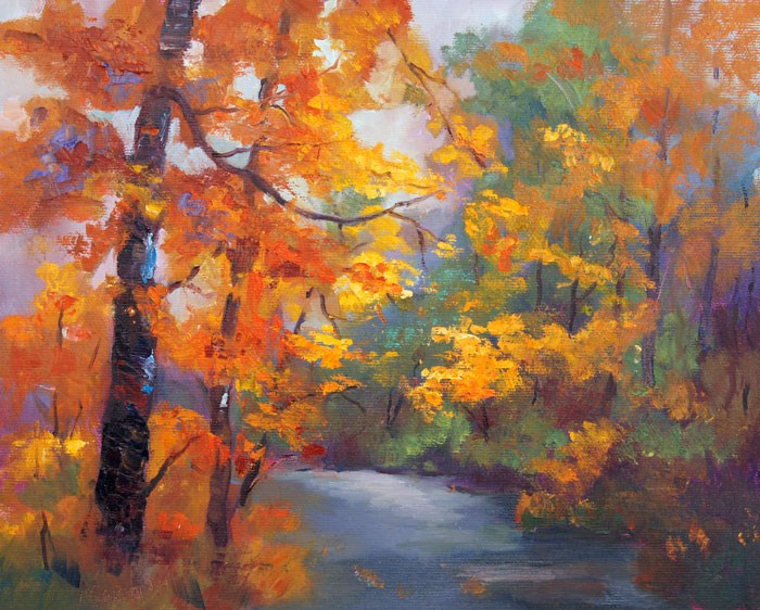 """Autumn Morning Oil on canvas, 24x30cm"" original fine art by Marion Hedger"
